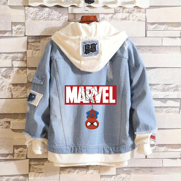 Marvel Spider Man Hooded Denim Jacket