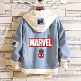 Marvel Spider Man/Captain America/Avenger Hooded Denim Jacket