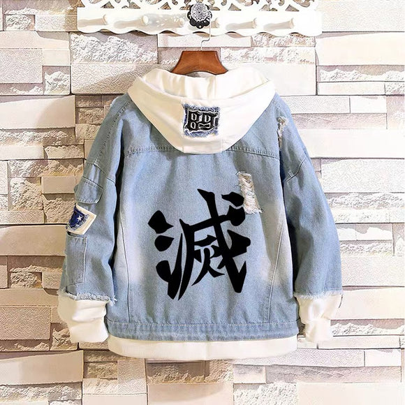 Demon Slayer: Kimetsu no Yaiba Stylish Hooded Denim Jacket