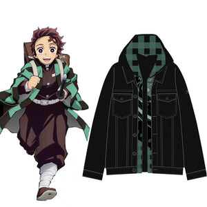 Demon Slayer Tanjiro Kamado Double Layer Denim Hooded Jacket