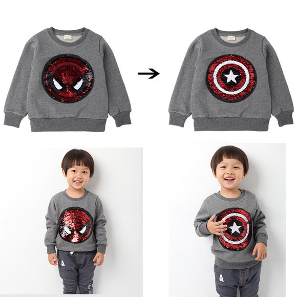 Kids' Spider-Man VS Captain America Reversible Sequin Long-Sleeve T-shirt