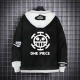 One Piece Black Layered Hooded Denim Jacket