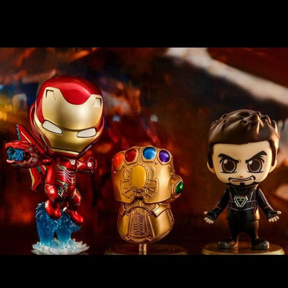 Hot Toys Cosbaby Ironman,Tony Stark and Inifinity Gauntlet
