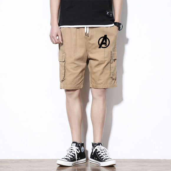 Men Avengers Logo Pocket Cargo Shorts