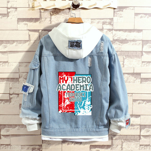 My Hero Academia Stylish Hooded Denim Jacket