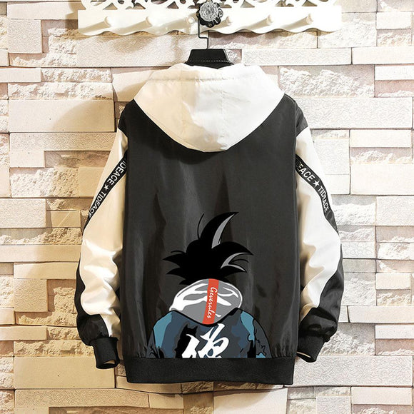 Goku Contrast Zip Up Windbreaker Jacket