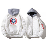 Captain America Unisex Baseball Jacket with Hood