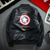 Captain America PU Leather Baseball Hooded Jacket