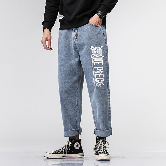 One Piece Logo Straight Fit Jeans