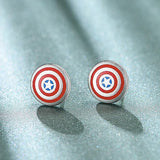 Iron Man Arc Reactor & Captain America Shield Silver Earrings
