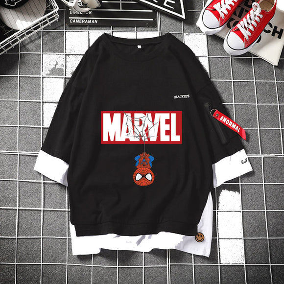 Marvel Logo & Hanged Spiderman/Deadpool/Captain Layered Tee