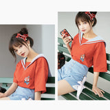 Chibi Avengers Sailor Collar Short Sleeves Tee