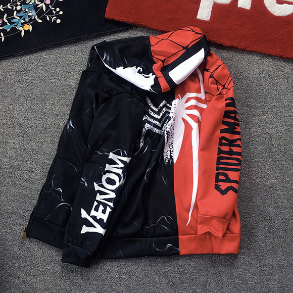 Spider-Man VS Venom Half Faced Zip Up Hoodie