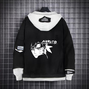 Naruto Black Layered Hooded Denim Jacket