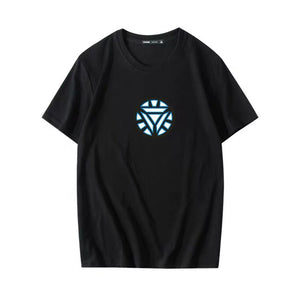 Iron Man Voice Control Glowing Short-sleeves T-shirt