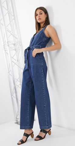 tall denim jumpsuit