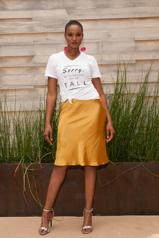 HEIGHT GODDESS graphic tee styled with skirt