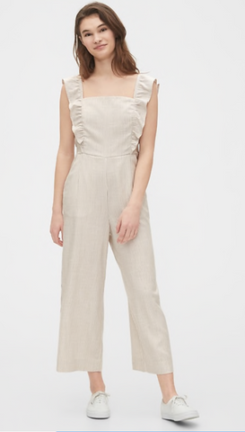 the gap frilly white jumpsuit