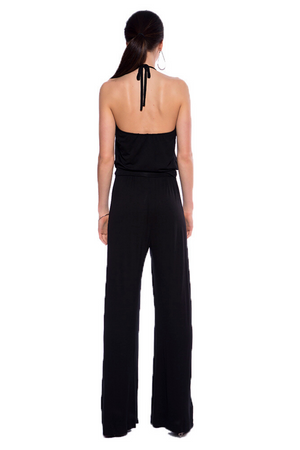 Bianca Halter Jumpsuit - Black - HEIGHT GODDESS