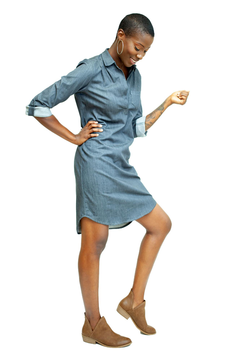 Boyfriend Shirtdress - Cadet Grey - HEIGHT GODDESS