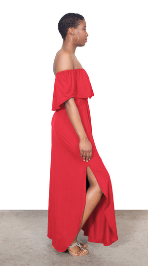Dore Off The Shoulder Tall Maxi Dress - Poppy Red - HEIGHT GODDESS