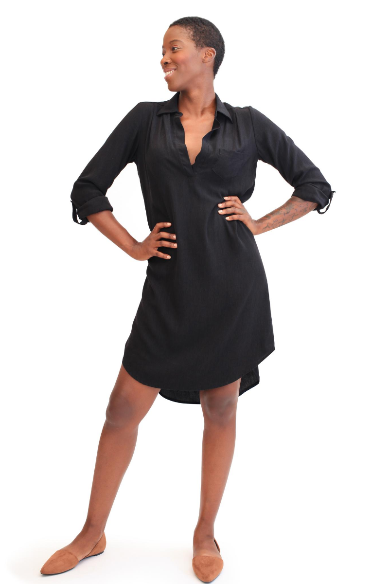 Boyfriend Shirtdress - Black - HEIGHT GODDESS