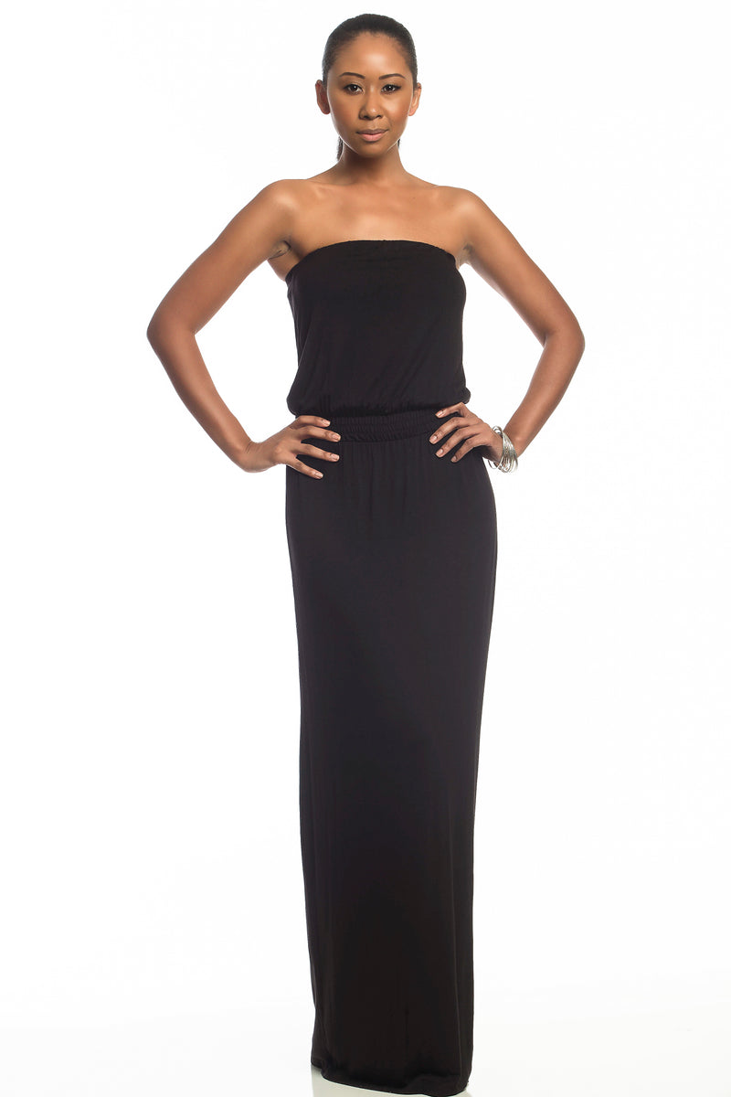 ISABELLA STRAPLESS MAXI DRESS ~ BLACK (Final Sale)
