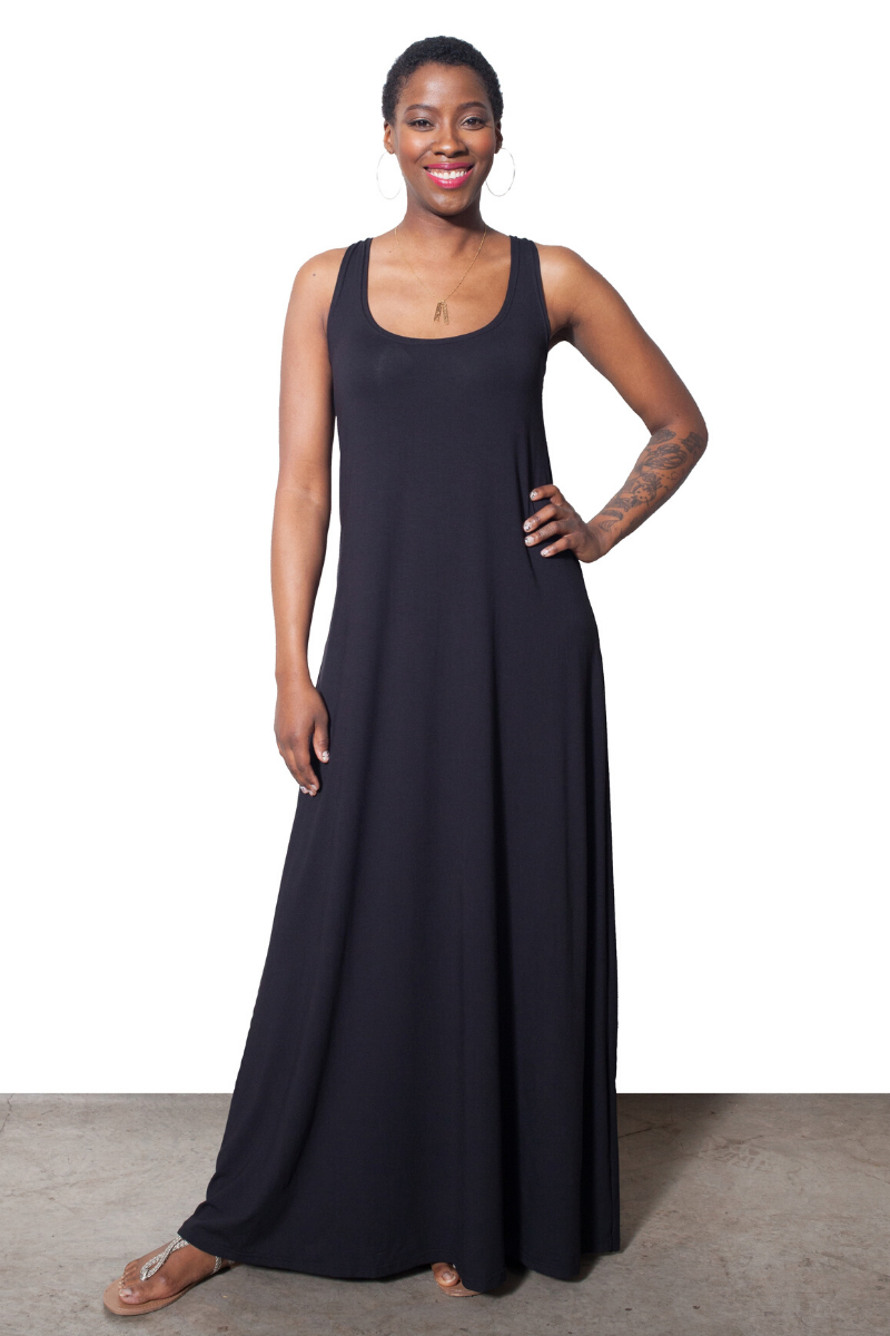 Lola Tank Maxi Dress - Black - HEIGHT GODDESS