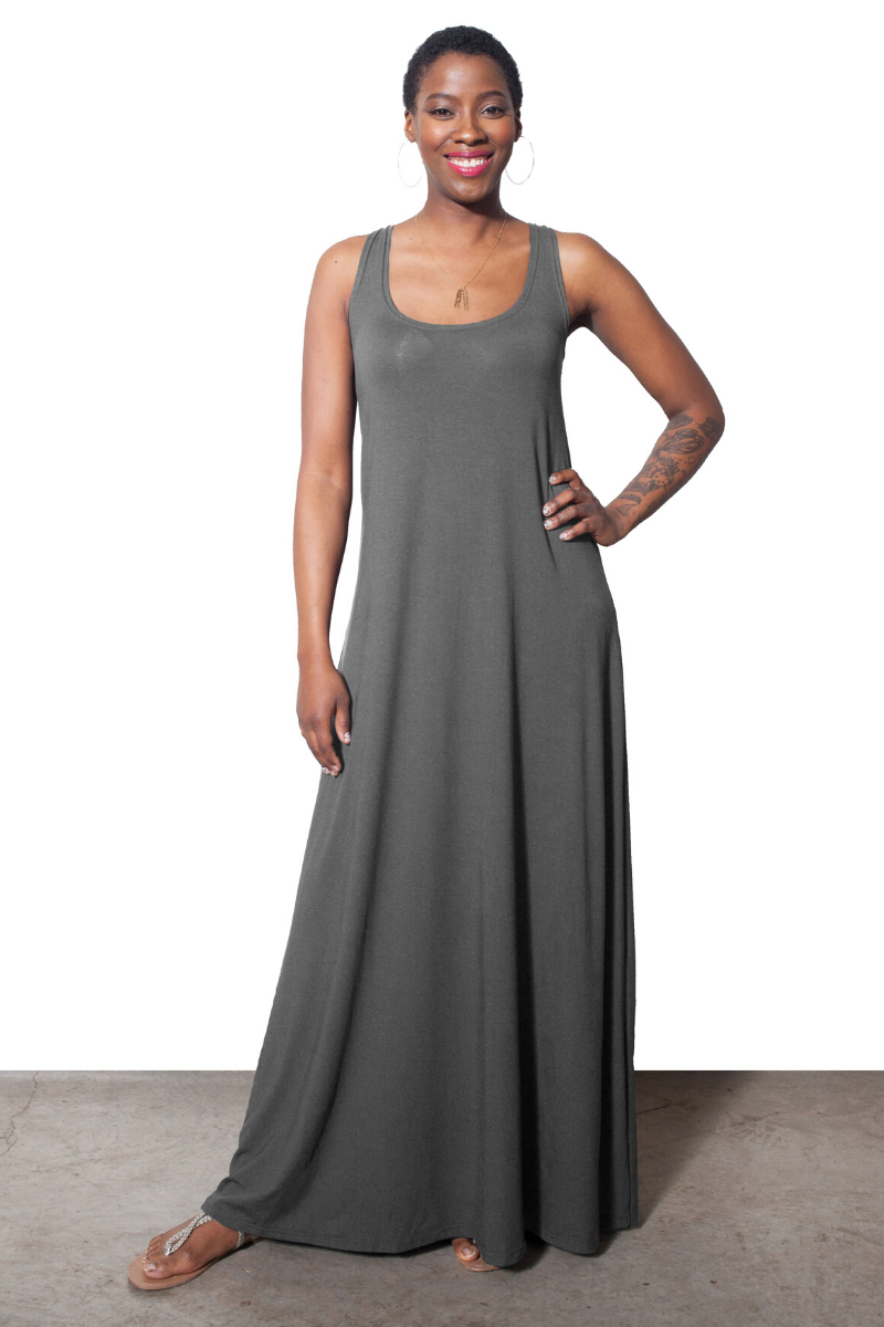 Lola Tank Maxi Dress - Steel Grey - HEIGHT GODDESS