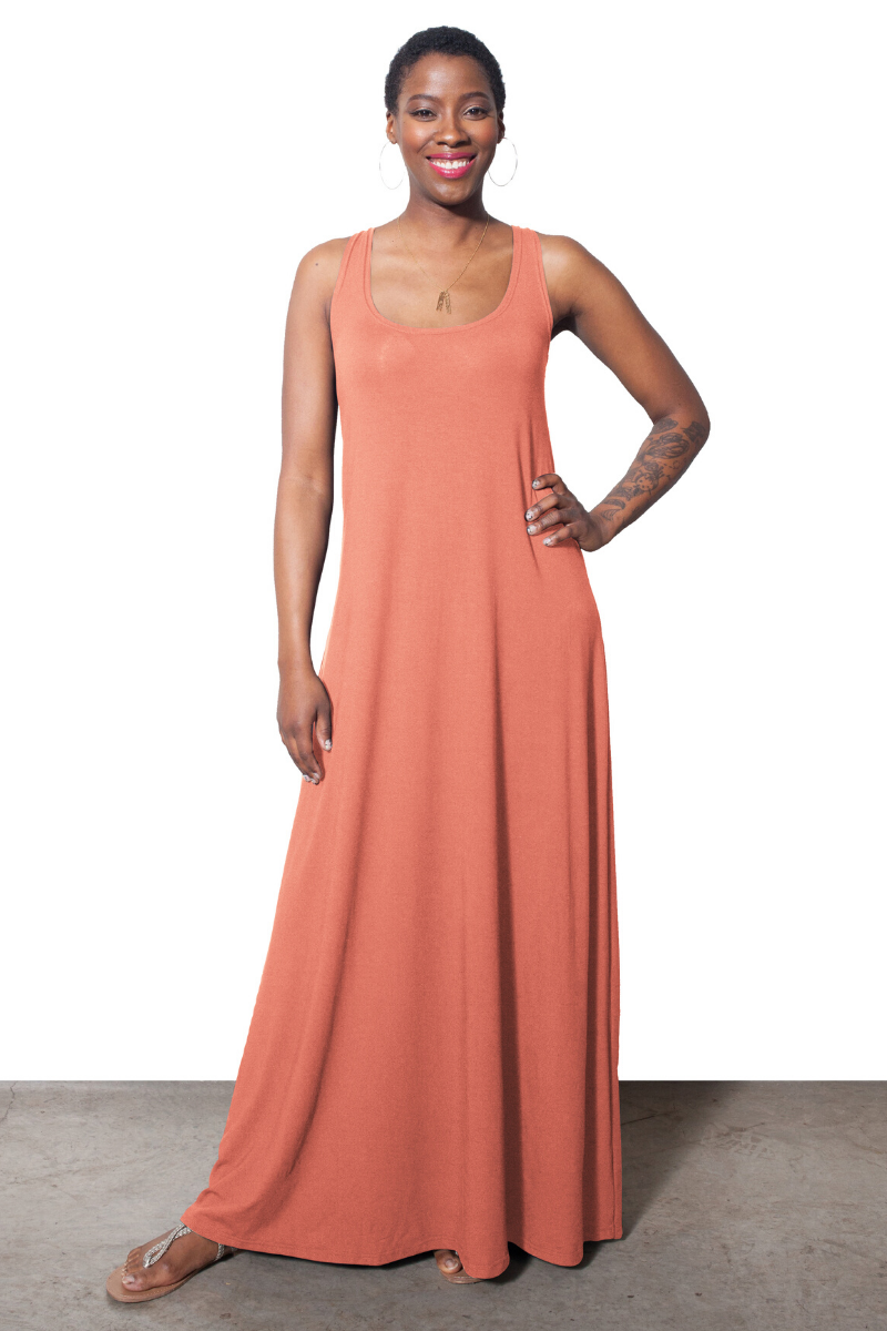 Lola Tank Maxi Dress - Coral - HEIGHT GODDESS