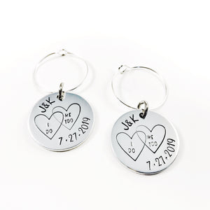 Wedding wine charms - Initials and Date
