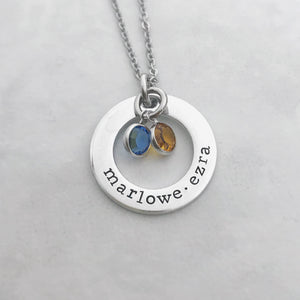 Small birthstone name necklace for mom