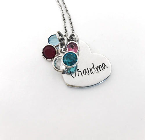 Grandma heart pendant birthstone necklace