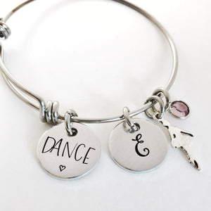 Dance bracelet with initial and birthstone