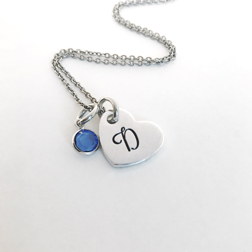 Heart initial pendant birthstone necklace
