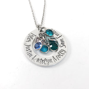 Birthstone name necklace gift for mom