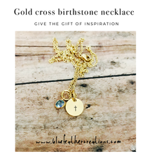 Load image into Gallery viewer, Gold dainty cross birthstone necklace