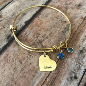 Gold bangle birthstone charm bracelet for Mom