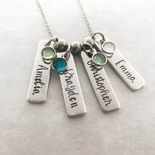 Load image into Gallery viewer, Name necklace for mom with birthstones