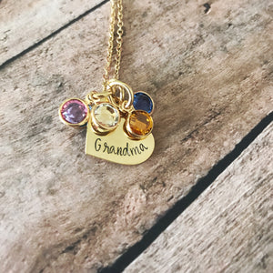 Gold birthstone necklace with mom or grandma heart pendant