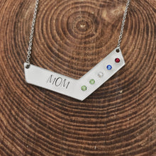 Load image into Gallery viewer, Chevron bar necklace with birthstones for mom