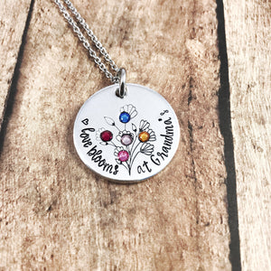Personalized birthstone necklace for Grandma