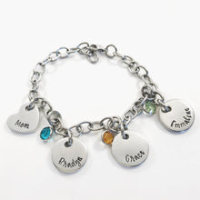 Load image into Gallery viewer, Wide link charm bracelet for mom with name pendants and birthstones