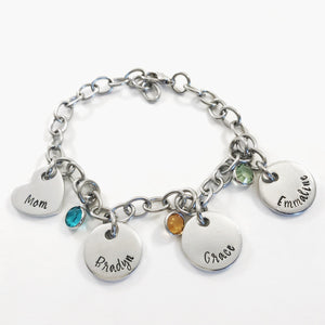 Wide link charm bracelet for mom with name pendants and birthstones