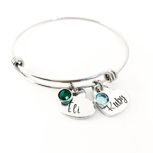 Birthstone name bracelet with hearts for mom