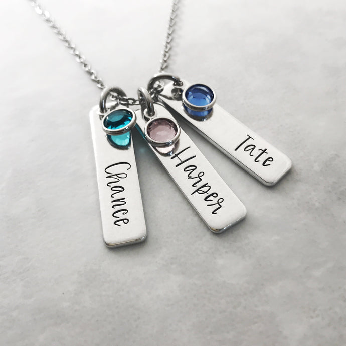 Name necklace for mom with birthstones
