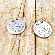 Load image into Gallery viewer, Wedding wine charms - Initials and Date