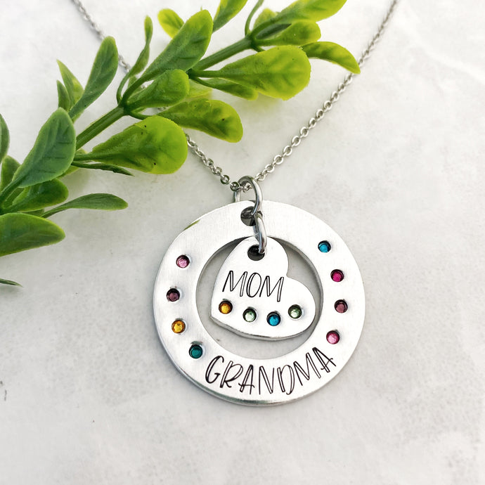 Birthstone heart necklace for grandma