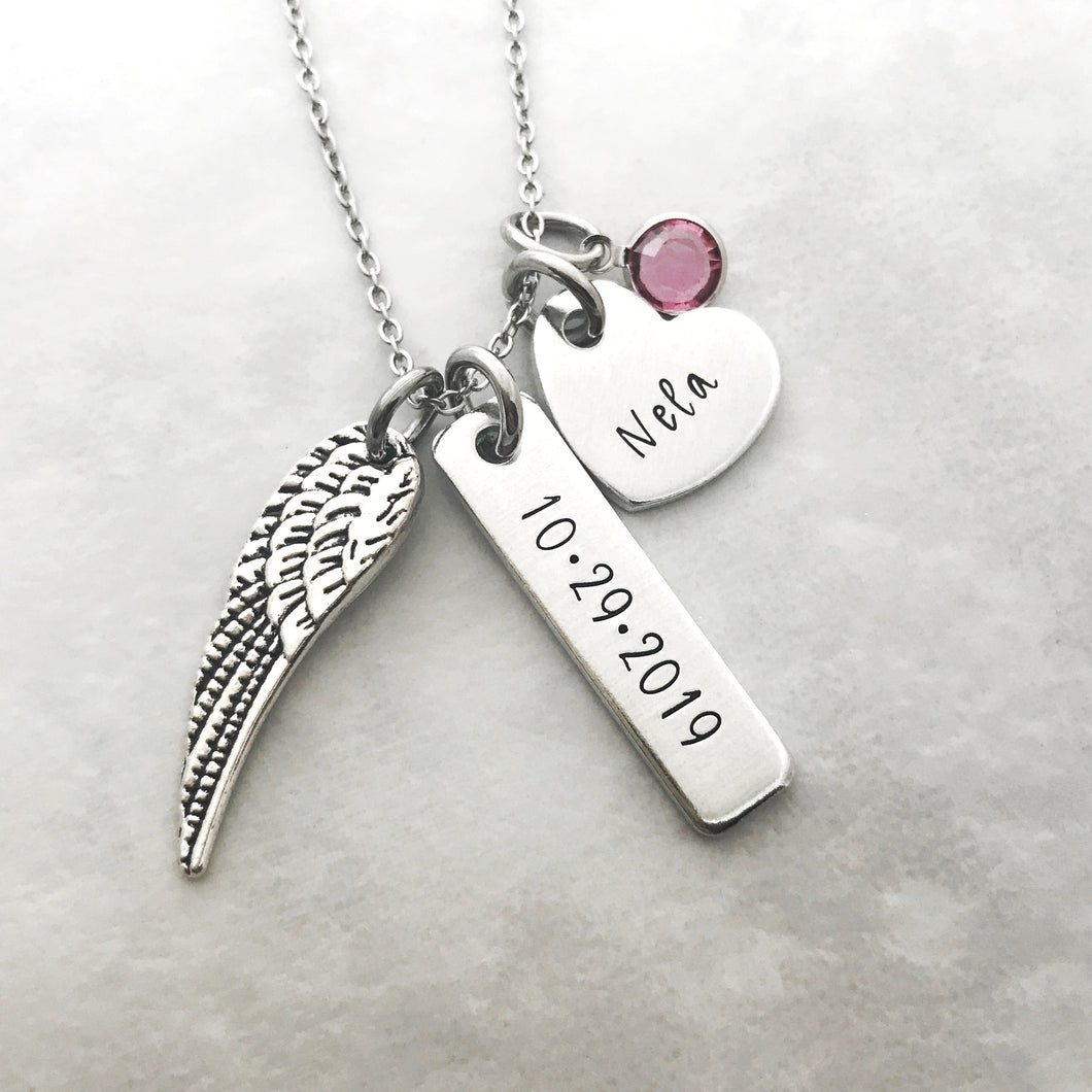 Memorial name and date necklace