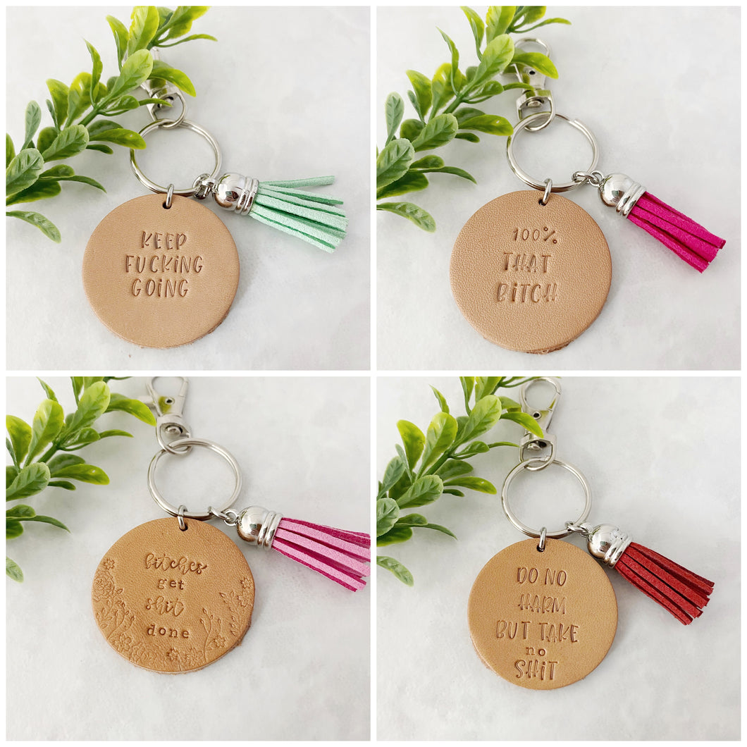 Swear word leather keychain with tassel